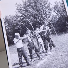 Vintage YMCA 1952 Photo Album Book Camp Blanchard Worcester, MA Mid Century Black and White Photos Boys Swimming Archery Indians by OffbeatAvenue on Etsy