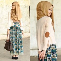 Love the leather elbow patches matched to the colour of the hijab (not the dress) Islamic Fashion, Muslim Fashion, Modest Fashion, Hijab Fashion, Muslim Dress, Hijab Dress, Hijab Outfit, Modest Wear, Modest Dresses