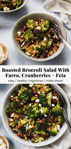 Farro Recipes, Broccoli Recipes, Vegetarian Recipes, Cooking Recipes, Healthy Recipes, Winter Salad Recipes, Vegetarian Salad, Ww Recipes, Veggie Recipes
