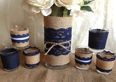 navy blue rustic burlap and lace covered vase and 6 by PinKyJubb I would want to do a lilac or some shade of purple instead of the navy.