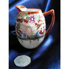 Oriental Miniature Milk / Cream Jug - Hand Painted Fish and Flowers with Gilding