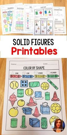 6 different 3D Shape / Solid Figures printable activities for students of varying abilities #math #elementarymath