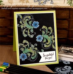 Learn how to do the Black Magic Coloring Technique! This week's StampTV Video card features the Simply The Best Stamp set along with white pigment ink and colo… Magic Tricks Tutorial, Card Tutorials, Paper Cards, Diy Cards, That Old Black Magic, Stamp Tv, Card Tricks, Magic Cards, Colouring Techniques