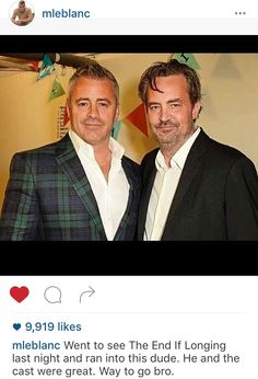 MINI FRIENDS REUNION! Matt LeBlanc who played Joey Tribbiani is in the UK filming top gear meanwhile meeting with his old friend Matthew Perry who played Chandler Bing on friends! #thatsbeauty