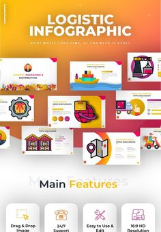 Need a Modern Presentation Template? Create a powerful and professional presentation with Logistic Distribution Infographic Powerpoint in just a few minutes Professional Presentation, Business Presentation, Presentation Design, Presentation Templates, Infographic Powerpoint, Business Powerpoint Templates, Slide Design, Web Design
