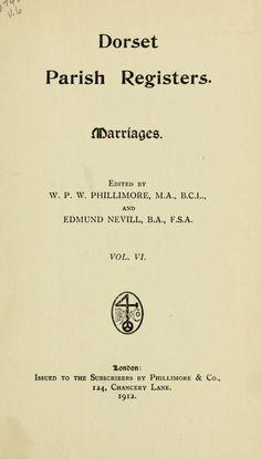 Dorset Parish Registers, volume 6, Marriages