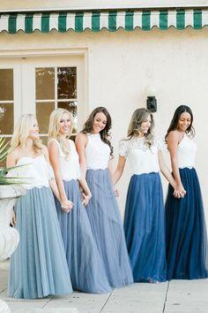 Bridesmaid Skirt And Top, Two Piece Bridesmaid Dresses, Bridesmaid Separates, Tulle Bridesmaid Dress, Bridesmaid Outfit, Blue Bridesmaids, Wedding Bridesmaids, Wedding Gowns, Inexpensive Wedding Dresses