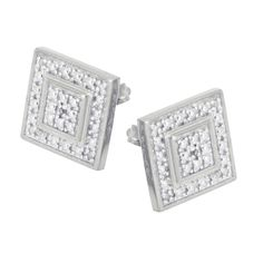 Sterling Silver Silver 1/10 TDW Diamond Square Earrings | apoptosisnyc.com Square Earrings, Cluster Earrings, Diamond Earrings, Stud Earrings, Diamond Stone, Silver Diamonds, Sterling Silver Earrings, Jewelry Accessories, Unisex