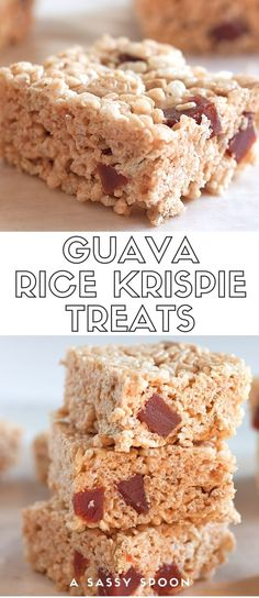 Deliciously sweet treats made with crispy rice cereal, guava marmalade marshmallow cream, cubes of guava paste and crumbled Maria cookies! via @asassyspoon