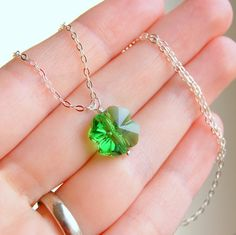 Shamrock Pendant Necklace Green Swarovski by GreenRibbonGems