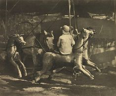 Old time merry-go-round, (1911) by Harold Cazneaux  (New Zealand, Australia 30 Mar 1878 – 19 Jun 1953)
