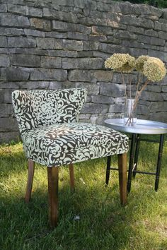 Reupholstered vintage chair using an abstract floral print. By Harper Eliot Designs.