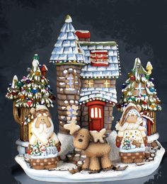 "Ceramic Bisque Ready to Paint ""Santa Land"" Chateau electric included"