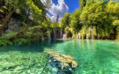 Lataa kuva Kroatia, vesiputouksia, kesällä, lake, metsä, Plitvice Lakes National Park