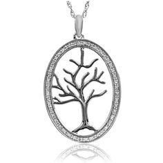 1/10 CT. T.W. Diamond Tree of Life Oval Pendant in Sterling Silver - Zales $109.65