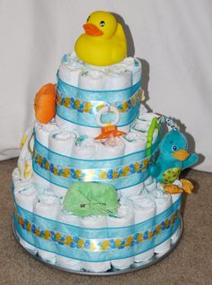 I'm back to show you the diaper cake I made that matches the card earlier for the baby shower today! Baby Cakes, Baby Shower Cakes, Baby Shower Fun, Baby Shower Favors, Baby Shower Decorations, Baby Shower Gifts, Duck Cake, Diaper Cake Boy, Diaper Cakes