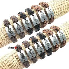 Wholesale 12pcs Fashion Love Heart Shaped Genuine Leather Hemp Bracelets #cheapfine #Bangle