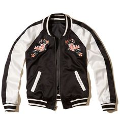 Hollister Reversible Embroidered Satin Bomber Jacket ($70) ❤ liked on Polyvore featuring outerwear, jackets, black, satin bomber jacket, embroidered jacket, blouson jacket, striped jacket and flight jacket