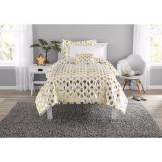 College Bedding Set Girls Gold Dot Comforter Coordinating, Pillow Set for sale online Comforter Sets, Brooklyn Bedding, Bed, Bed In A Bag, College Bedding Sets, Girls Dorm Room, Luxury Bedding, College Dorm Room Decor, Gold Bedding Sets