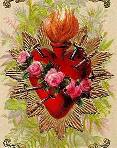 Reveals the occult origins of the heart symbols of St. Valentine's Day, explains the Sacred Heart of Jesus, Immaculate Heart of Mary, Catholic mysticism. Religious Images, Religious Icons, Religious Art, Blessed Mother Mary, Blessed Virgin Mary, Sacred Heart Tattoos, Jesus E Maria, Heart Illustration, Heart Of Jesus