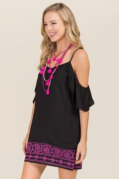 Kelly Embroidered Cold Shoulder Shift Dress