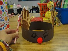 reindeer hat to make and wear at Christmas party - handprints are the antlers.