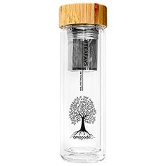 amapodo tea bottle tumbler pot maker glass with tea strainer and bamboo lid drinking bottle Infuser glass to go double-walled BPA-free: Amazon.co.uk: Kitchen & Home