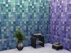 Glossy wall tiles. 5 colors in a single file.  Found in TSR Category 'Sims 4 Walls'