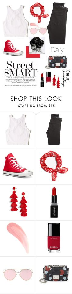 """""""Daily look"""" by makusena ❤ liked on Polyvore featuring Hollister Co., Citizens of Humanity, Converse, BaubleBar, Smashbox, Chanel, LMNT and RED Valentino"""