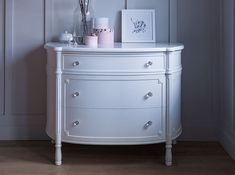 French Louis XV style curved dresser with three banded and inlaid, fully lined soft close drawers. Shown here in a distressed white finish with clear crystal knobs. Kids Furniture, Furniture Design, Baby Changer, Kids Bedroom, Bedroom Decor, Luxury Nursery, Crystal Knobs, Dresser As Nightstand, Kidsroom
