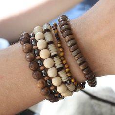 Mens Handmade Natural Beaded Bracelet By Lisa Angel