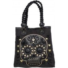 LOUNGEFLY GOLD/BLK SUGAR SKULL BAG WITH BRAIDED HANDLE