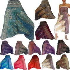 Genie Hippie Boho Aladdin Dance Baggy Hammer Yoga Harem Pants Trousers Jumpsuit #Handmade #CasualPants