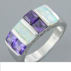 Amethyst White Lab Fire Opal Silver Ring Size 8