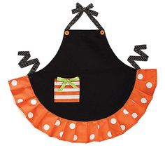 Halloween Apron Polka Dot Black & Orange Child Size Embroidery Pocket