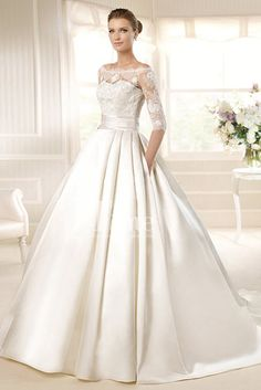 Half Sleeves Ball Gown Off the shoulder Neckline Satin White/Ivory Princess Wedding Dresses with pockets WD149840
