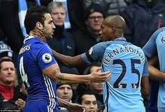 Fernandinho grabbed Fabregas by the throat as the Manchester City man was shown a red card by the referee