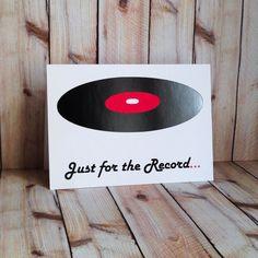 Record Music Love You Handmade Card Custom by ArtfulCreationsByDeb, $3.50