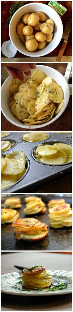 """L'il Pomme Anna. It's a very simple deconstruction of that classic casserole potato dish Pomme Anna, but with a single-serve attitude.""---Bet it would work with cooking spray, too. Potato Dishes, Vegetable Dishes, Vegetable Recipes, Food Dishes, Side Dishes, Potato Recipes, Vegetable Appetizers, Cheese Appetizers, Serving Dishes"