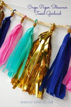 Tutorial: Crepe paper streamer tassel garland {Handcrafted Parties}