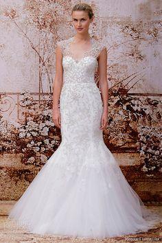 monique lhuillier fall 2014 adele wedding dress cap sleeves keyhole back