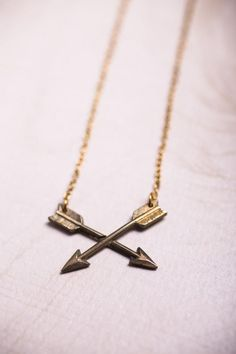 Golden Crossed Arrows Necklace | With Care | Bourbon & Boots