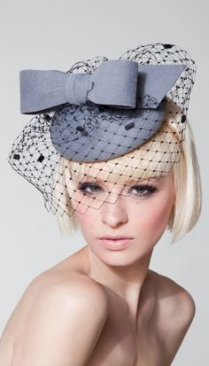 Dillon Wallwork Bespoke Hats -  Dove grey fur felt velour baby beret trimmed with bow and spot veil. #passion4hats