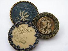 3 Antique vintage brass metal picture buttons victorian celluloid wood | Antique Buttons For Sale