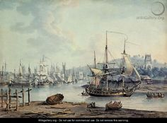 Towing a Warship out of Bristol Harbour, 1783 - Nicholas Pocock