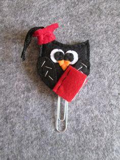 Graduation Owl paper clip - Felt bookmark - Owl paper clip - Graduation paper clip - Graffetta/segnalibro con gufo laureato - Regalo per Laurea - Planner clip - di TinyFeltHeart su Etsy