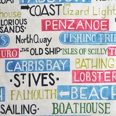Kids Curtain Fabric for Curtains Blinds and Bedding Kids Curtains, Curtains With Blinds, Seaside Theme, Newquay, St Ives, Place Names, Beach Signs, Curtain Fabric, Cornwall