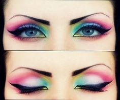Multi coloured eye make-up, winged eyeliner 80s Makeup, Crazy Makeup, Love Makeup, Makeup Tips, Beauty Makeup, Makeup Looks, Sixties Makeup, Prom Makeup, Eyeshadow Makeup
