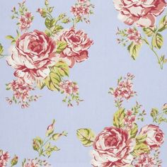 Flora Oilcloth in Powder Blue Gloss finish on a woven cotton backing Width Approximately 135 cms Matching and co-ordinating fabric available Large