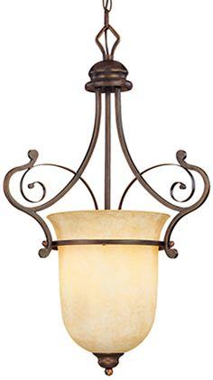 "Bronze Iron Chandelier Scroll Design Scavo Glass Shade 1 Light 14""Wx23""H"